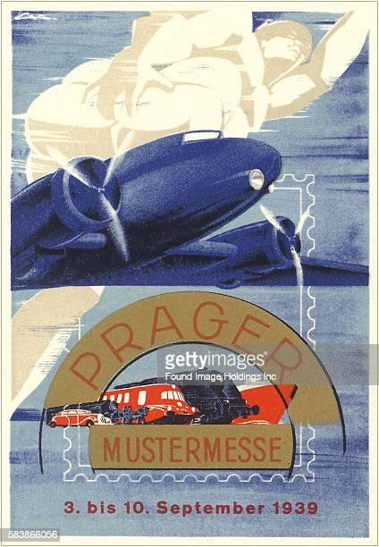 Vintage illustration of Model Convention Poster, Germany, Prager Mustermesse, Prague pattern - fair 1939, 1930s.