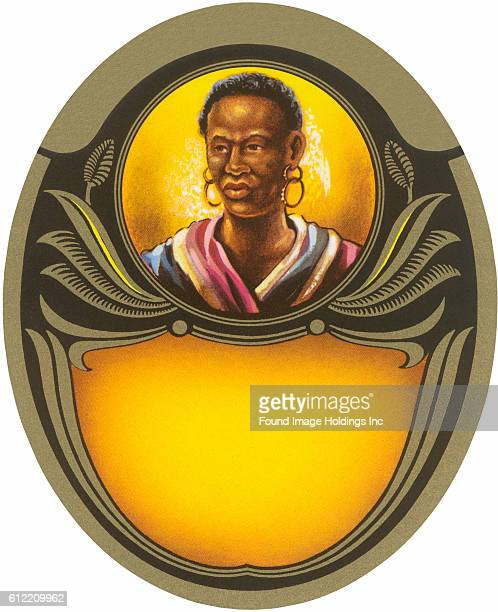 Vintage illustration of native African tribesman within a graphic frame from the 1920s