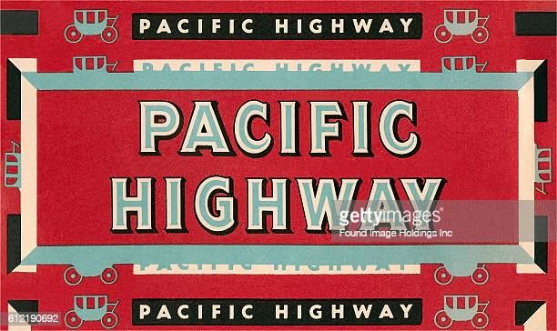 Vintage illustration of Pacific Highway Sign
