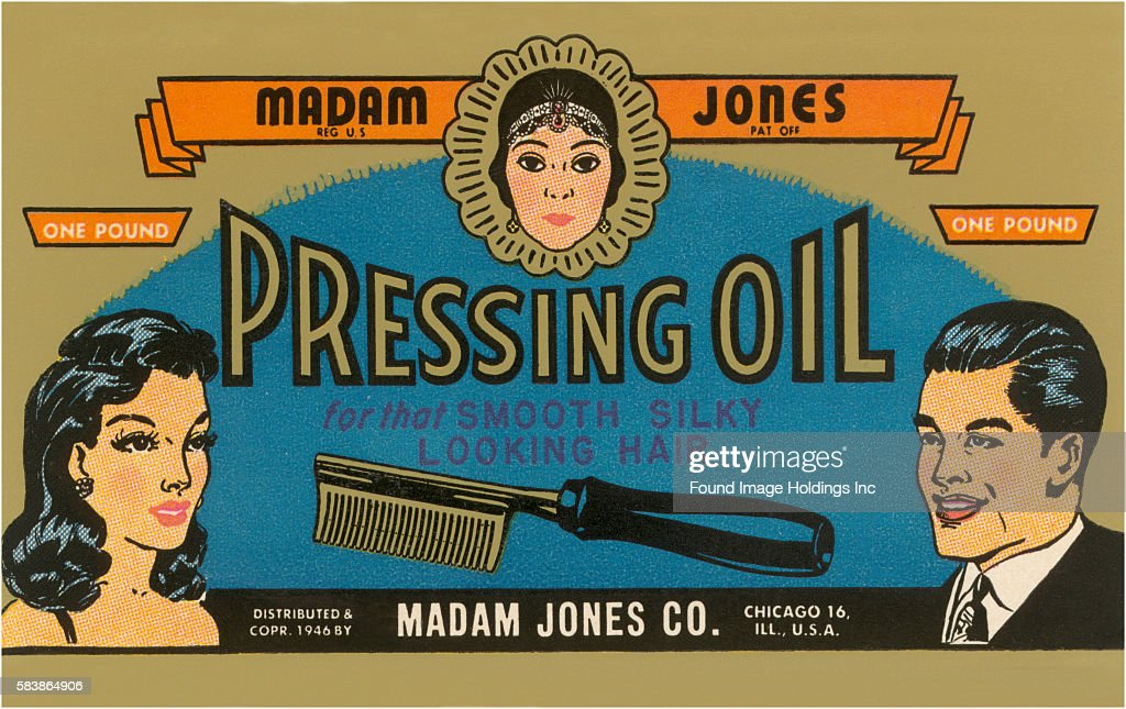 Vintage Illustration Of Pressing Oil Hair Tonic Label 1940s News