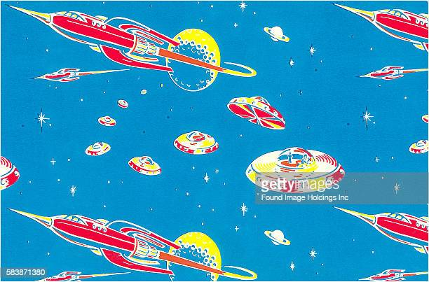 Vintage illustration of rocket ships and manned flying saucers flying through space 1950s