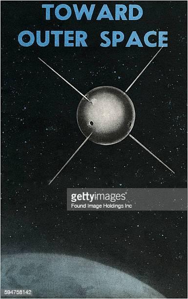Vintage illustration of Sputnik satellite above earth tilted 'Toward Outer Space'