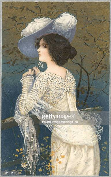 Vintage illustration of the back and profile of a standing woman in a lacy white dress and feathered hat in the 1910s
