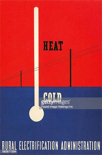 Vintage illustration of the outline of a thermometer imposed on a red and blue landscape with only telephone polls and wires 'Heat Cold, Rural...