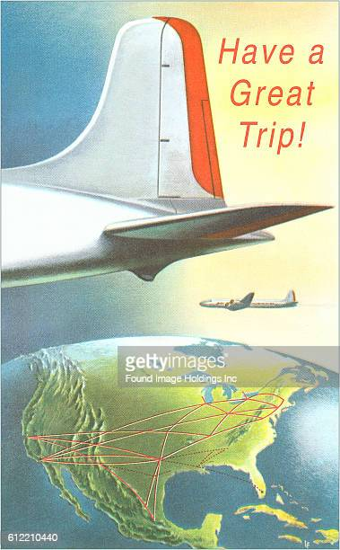 Vintage illustration of the tail of an airplane above a globe showing Central and North America from the 1940s 'Have a Great Trip'