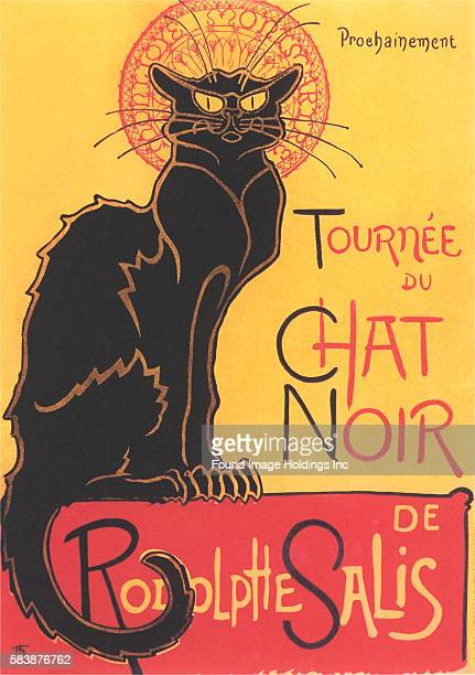 Vintage illustration of Theophile Steinlen's 1896 poster of a large black cat advertising a tour of the Le Chat Noir's troupe of cabaret entertainers...