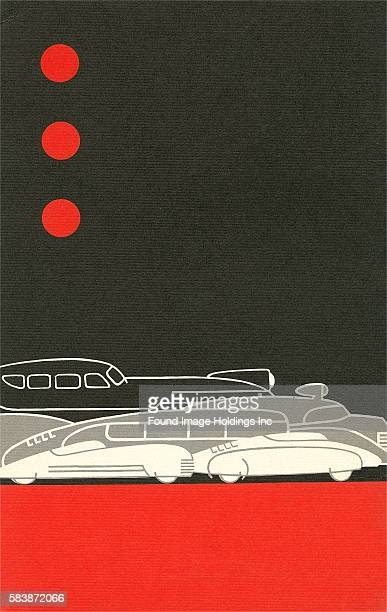 Vintage illustration of three red dots in a black sky over modern streamlined automobiles 1930s