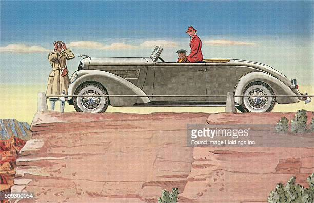 Vintage illustration of three tourists in a convertible car on a mesa in the desert in the 1930s