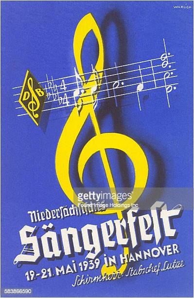 Vintage illustration of Treble Clef with Staff, Sangerfelt, Hanover, Germany Christian Warlich, 1930s.