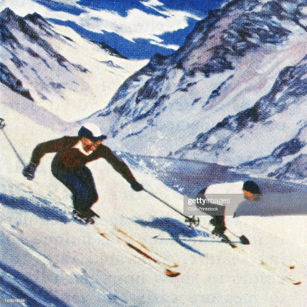 Ilustración vintage de dos hombres esquiando en montañas : Ilustración de stock