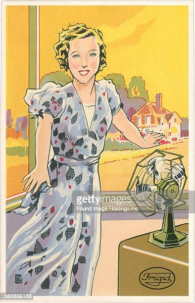 Vintage illustration of Woman with Electric Fan Frigid fan 1930s