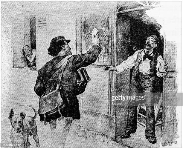 illustrations, cliparts, dessins animés et icônes de illustrations vintage pour le roman «tartarin sur les alpes» par alphonse daudet: postman - facteur