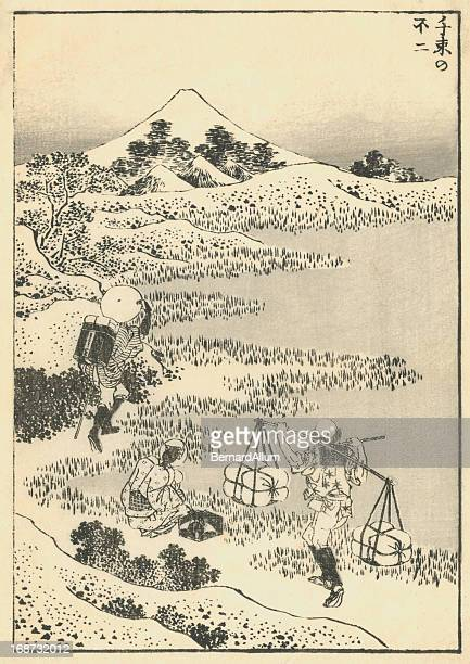 vintage jaanese woodblock print of travelers. - mt. fuji stock illustrations, clip art, cartoons, & icons