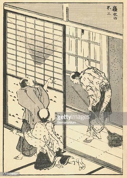 vintage japanese woodblock print of domestic scene - broom stock illustrations, clip art, cartoons, & icons