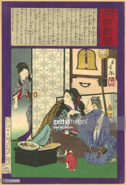 illustrations, cliparts, dessins animés et icônes de vintage bois japonais imprimé intérieur de la maison - estampe japonaise