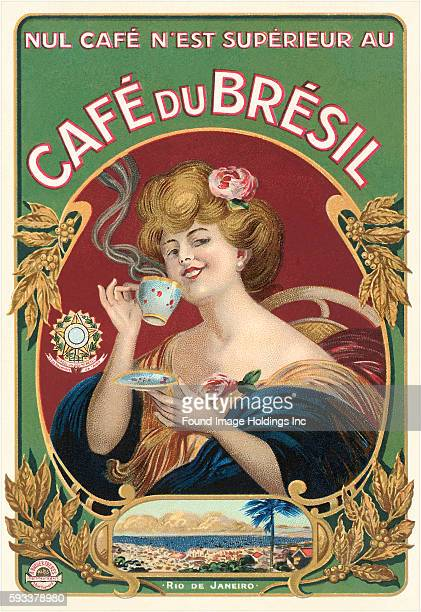 Vintage label illustration of 'Cafe du Bresil Nul Cafe N'est Superieur' from 'Rio de Janeiro' Brazil showing elegant woman wearing blue gold and red...