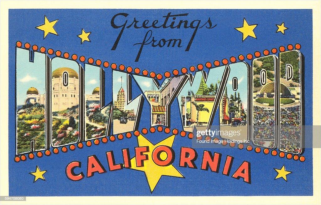 Vintage large letter illustrated postcard greetings from hollywood greetings from hollywood california news photo m4hsunfo