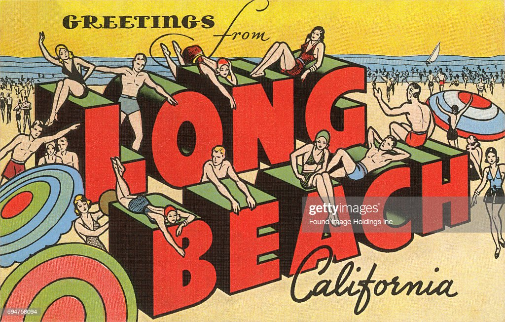 Greetings from long beach california pictures getty images vintage large letter illustrated postcard greetings from long beach california showing sunbathers and m4hsunfo Gallery
