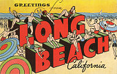 Vintage large letter illustrated postcard greetings from long beach illustration id594758094?s=170x170
