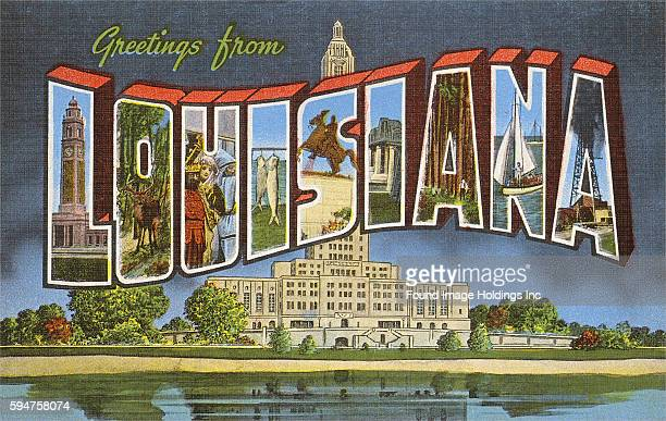 Vintage large letter illustrated postcard 'Greetings from Louisiana' showing the State Capitol building in Baton Rouge.