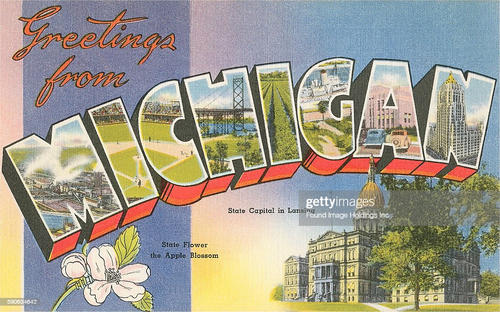 Greetings from michigan pictures getty images vintage large letter illustrated postcard greetings from michigan showing the state capital in lansing m4hsunfo