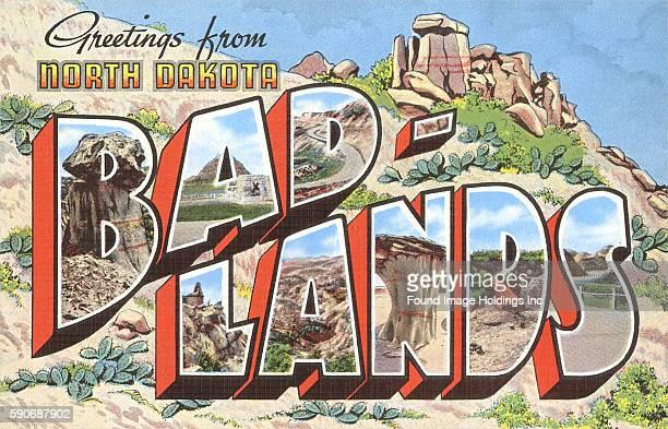 Vintage large letter illustrated postcard 'Greetings from North Dakota BadLands' showing the geological formations and landscape of Badlands National...