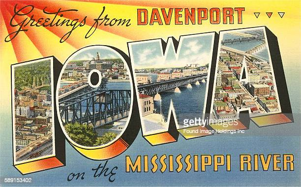Greetings from Davenport Iowa on the Mississippi River large letter vintage postcard