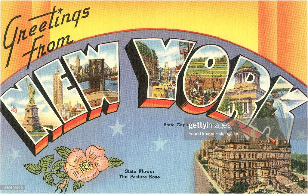 Greetings from new york pictures getty images greetings from new york1 picture embed embedlicense vintage large letter illustrated postcard images of the state capitol statue of liberty brooklyn m4hsunfo