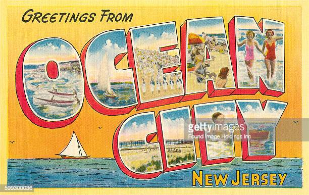 Vintage large letter postcard 'Greetings from Ocean City New Jersey' from the 1940s
