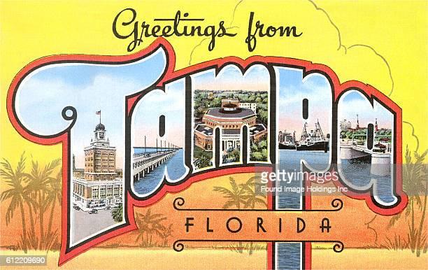 Vintage large letter postcard Greetings from Tampa Florida from the 1930s