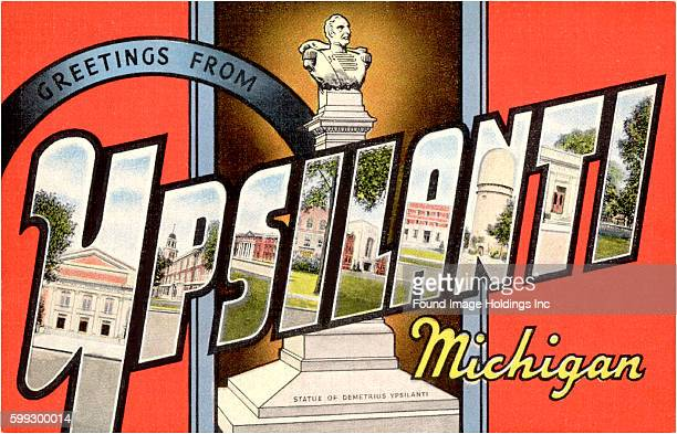 Vintage large letter postcard 'Greetings from Ypsilanti Michigan' from the 1930s