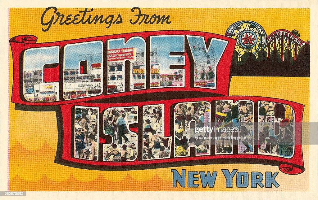 Vintage large letter postcard illustration greetings from coney greetings from coney island new york news photo m4hsunfo