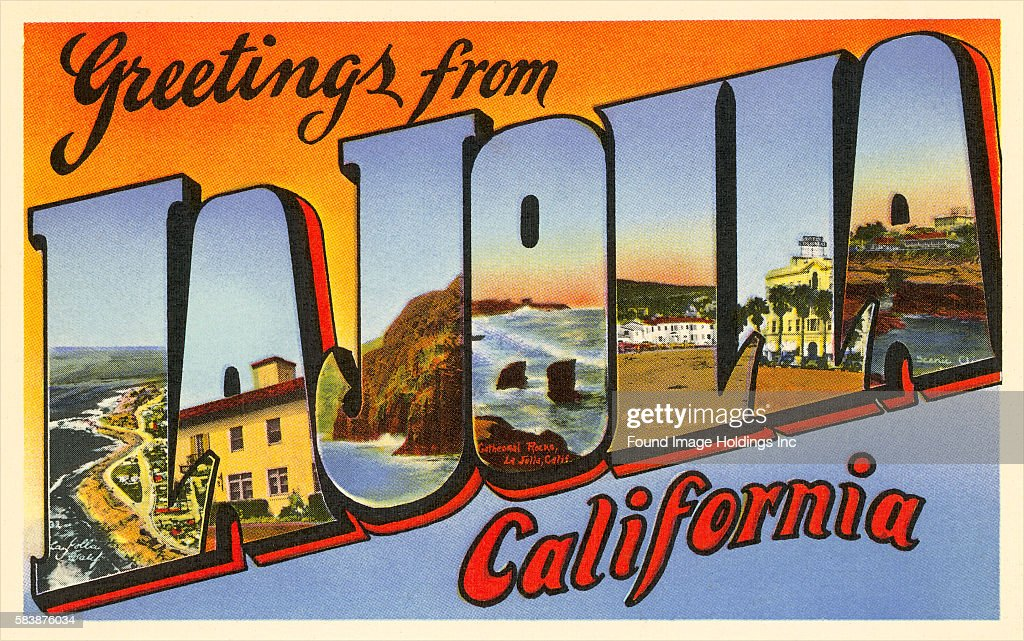 Greetings from la jolla california pictures getty images vintage large letter postcard illustration greetings from la jolla california showing m4hsunfo Gallery