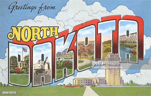 Vintage large letter postcard illustration 'Greetings from North Dakota' showing scenes and buildings in North Dakota 1930s