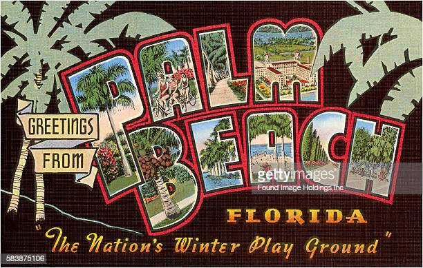 Vintage large letter postcard illustration 'Greetings from Palm Beach Florida the Nation's Winter Play Ground' showing scenes from Palm Beach against...