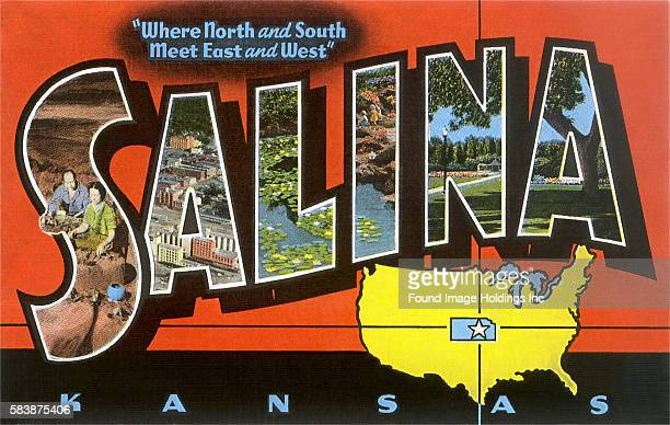 Vintage large letter postcard illustration 'Greetings from Salina Kansas Where North and South Meet East and West' showing scenes from the area...