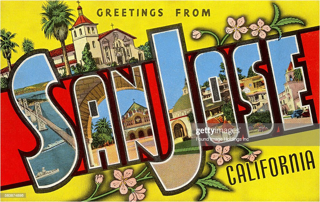 Greetings from san jose california pictures getty images vintage large letter postcard illustration greetings from san jose california showing m4hsunfo Gallery