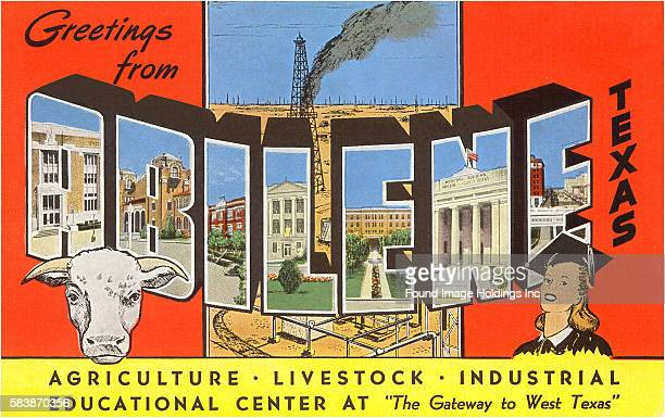 Vintage large letter postcard illustration of McMurry College, a steer, an oil derrick and geyser, a young female graduate, and city scenes...
