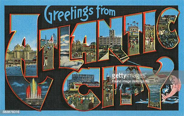 Vintage large letter postcard illustration with a black background 'Greetings from Atlantic City' showing scenes from the boardwalk in Atlantic City...