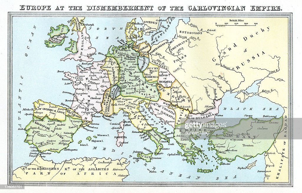 Vintage Map 9th Century Europe Carolingian Empire Stock