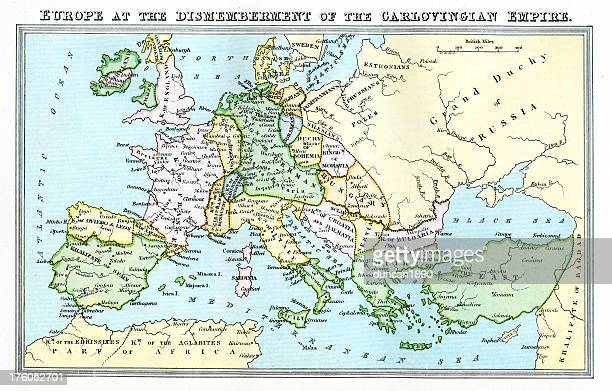 vintage map 9th century europe - carolingian empire - iberian peninsula stock illustrations, clip art, cartoons, & icons