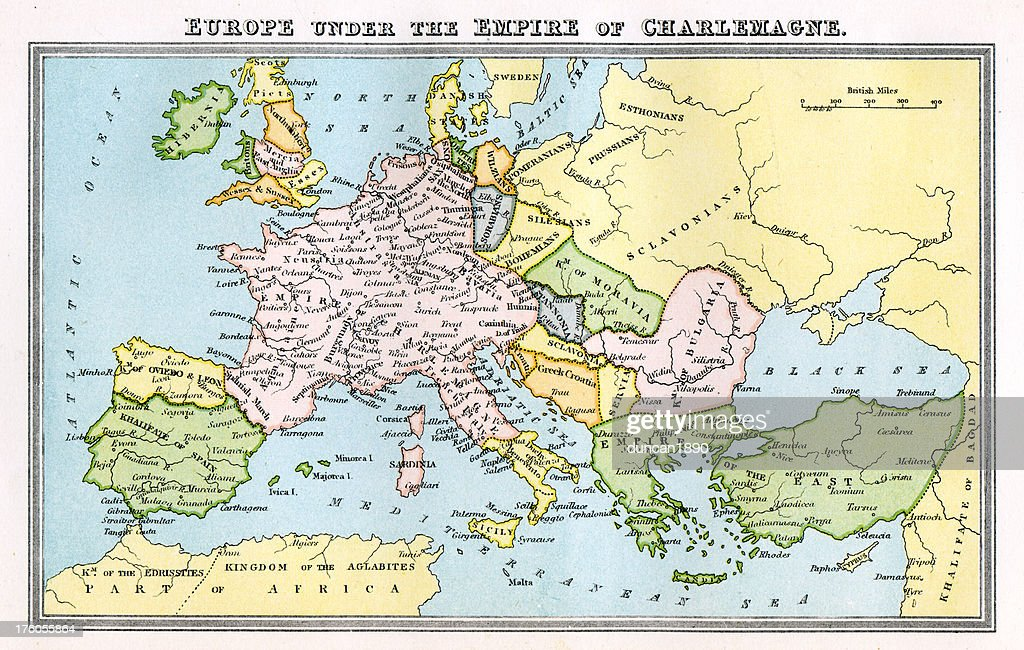 Vintage Map 9th Century Europe Empire Of Charlemagne Stock