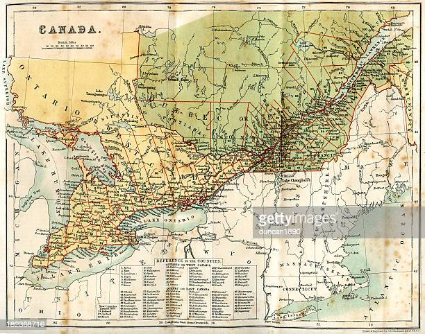 Vintage map of Canada 1860s