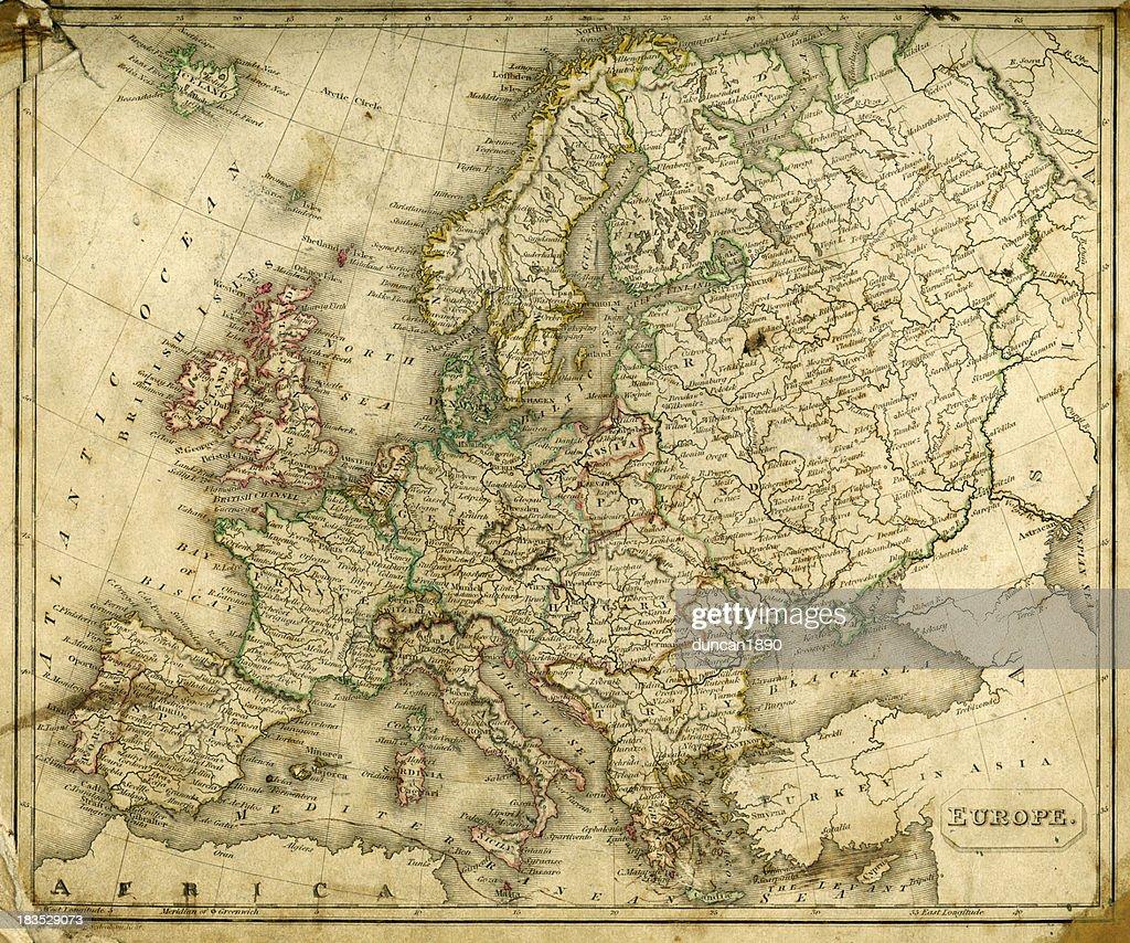 Vintage Map of Europe : stock illustration