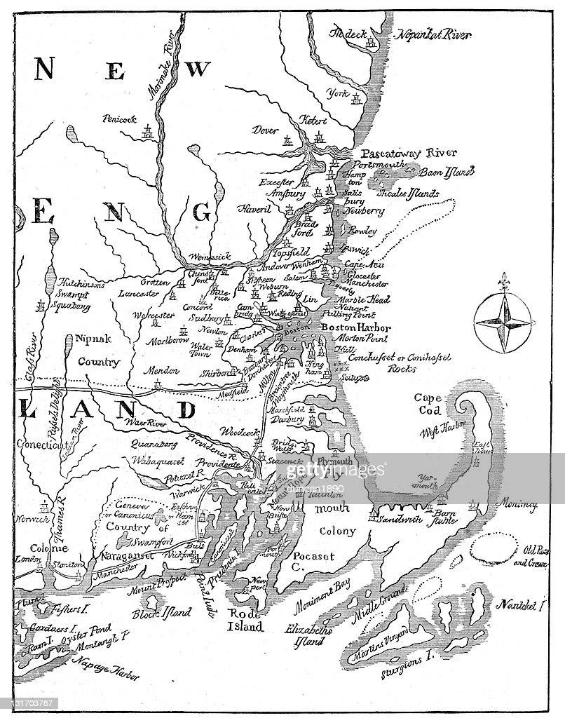 Vintage Map of New England : stock illustration