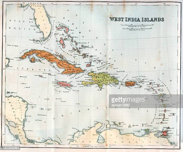 vintage map of the west india islands 1860s - jamaica stock illustrations, clip art, cartoons, & icons