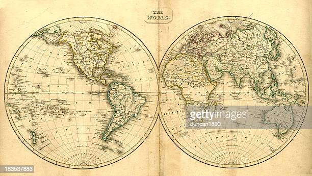 vintage map of the world - the past stock illustrations