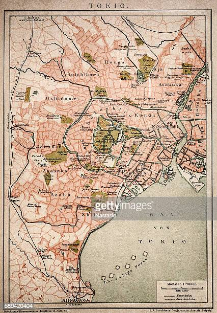vintage map of tokyo - tokyo japan stock illustrations, clip art, cartoons, & icons