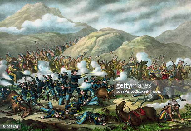 Vintage military print featuring The Battle of Little Bighorn, also known as Custers Last Stand.