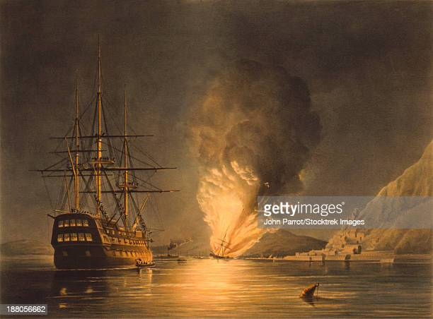 vintage naval history print featuring the explosion of the united states steam frigate missouri, at gibraltar, august 26, 1843.  - us navy stock illustrations
